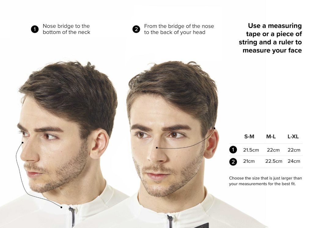 NAROO N0 - infographic for how to measure filtering sports mask-min